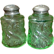 EAPG Salt and Pepper Northwood S Repeat Light Green With Original Shaker Tops
