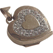 Vintage Paved' Diamonds Heart Locket  in 9Kt Yellow Gold