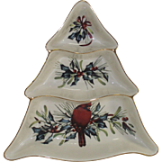 "Vintage Lenox Christmas Divided Server ""Winter Greetings"" Christmas Tree"