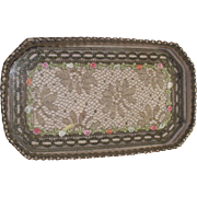 French Boudoir Glass Covered Dresser Tray Mirror and Comb With Gold Bullion And Metallic Lace Trim