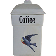 Vintage Blue Bird Coffee Canister 1920's