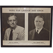 Vintage 1936 Landon and Knox Framed Campaign Poster