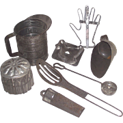 Vintage Eight Piece Early Tin Kitchen Tools Terrific and Unusual Mixed Lot