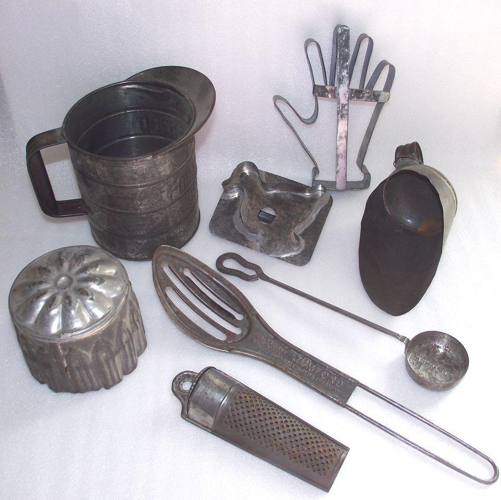 Vintage Eight Piece Early Tin Kitchen Tools Terrific and Unusual ...