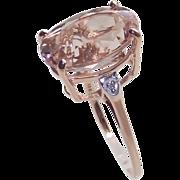 Vintage Morganite Ring 5.5 Caret 10 Kt Rose Gold size 5.5