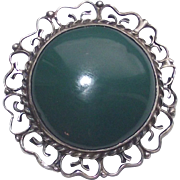Vintage Sterling Mexican Filigree Brooch - Pendant with Large Deep Aqua Green Cabochon Stone