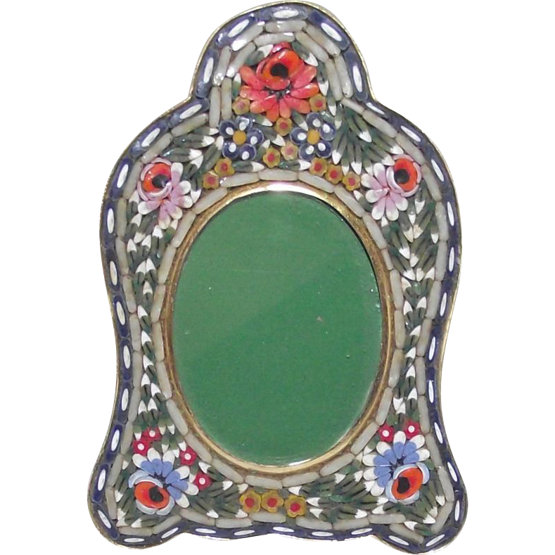 Vintage micro mosaic picture frame small oval with arched for Vintage picture frame ideas
