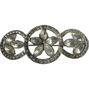 Vintage Art Deco Paste Stone Three Circles Bar Pin Brooch 1920's