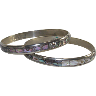 Vintage Mexican Bangles Two Piece Set  with Inlaid Abalone