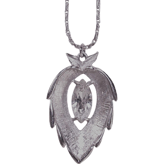 Vintage Sarah Coventry Pendant with Large Clear Marquise Stone