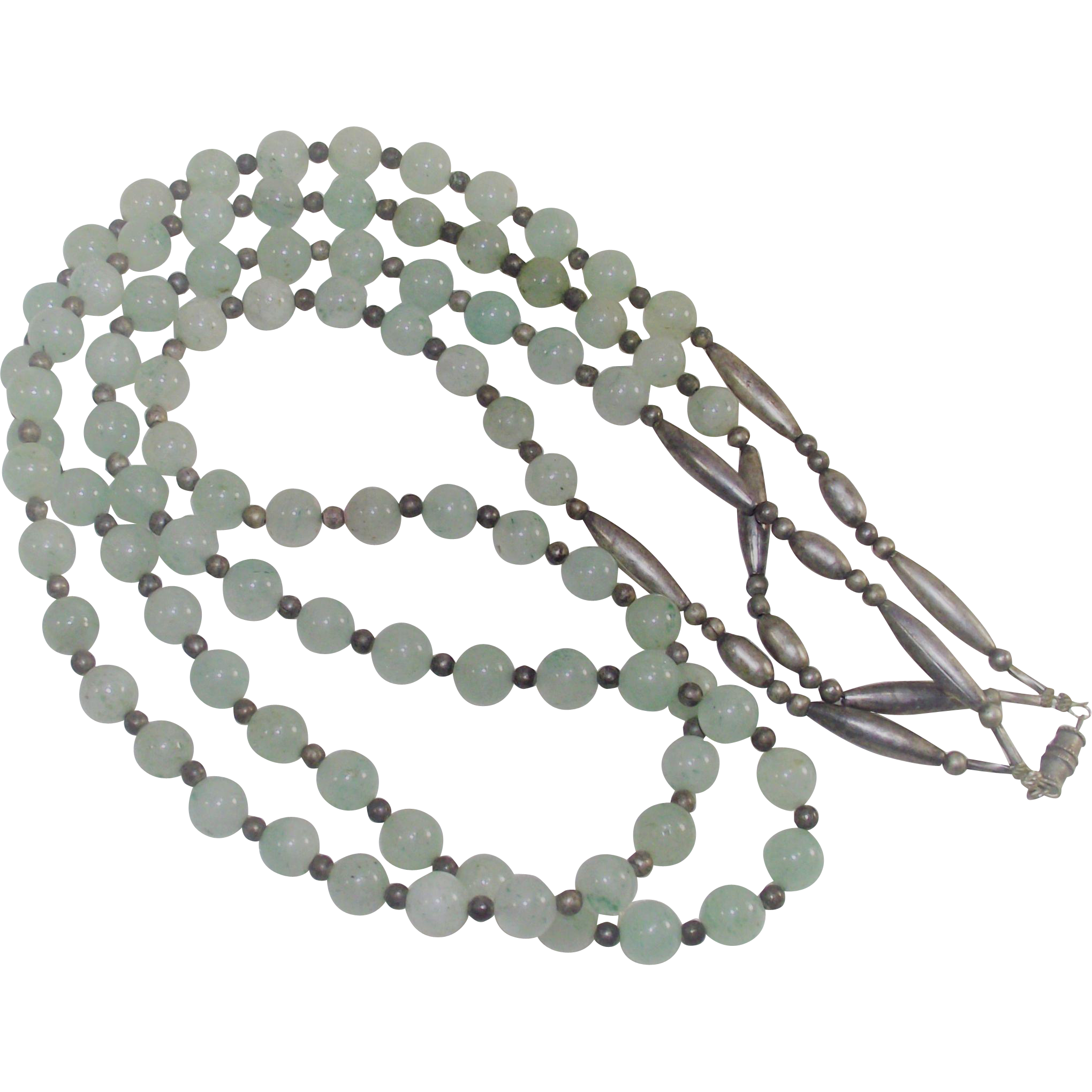 Vintage Nephrite Double Strand Beads with Silver Spacers
