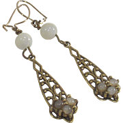 Vintage 1940s Filigree Earrings with Opalescent Stones