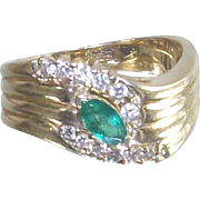 14 Kt Yellow Gold Emerald and Diamond Ring size 6