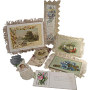 Victorian Paper Collection Fringed Cards, Book Mark, Embossed Cards