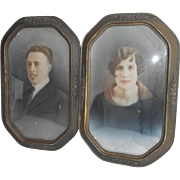 Pair Barbola Style Frames Circa 1915 Matched Princess Cut Corners and Convex Glass