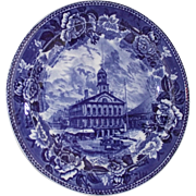 Wedgwood Flow Blue 1898 Faneuil Hall Boston Plate