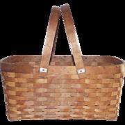 Vintage  Gathering Basket with Swing Handle Splint Construction