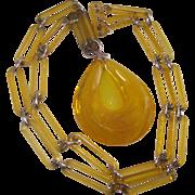 Vintage Lemon Yellow Lucite Chain Necklace and Large Pendant Drop
