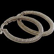 Vintage Greek Key Design Sterling Silver Oval Hoop Earrings