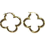 Vintage 1990s Heidi Klum Gold Over Sterling Large Clover Hoop Earrings