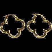 Vintage 1990s Heidi Klum Gold Over Sterling Large Clover Hoop Earrings