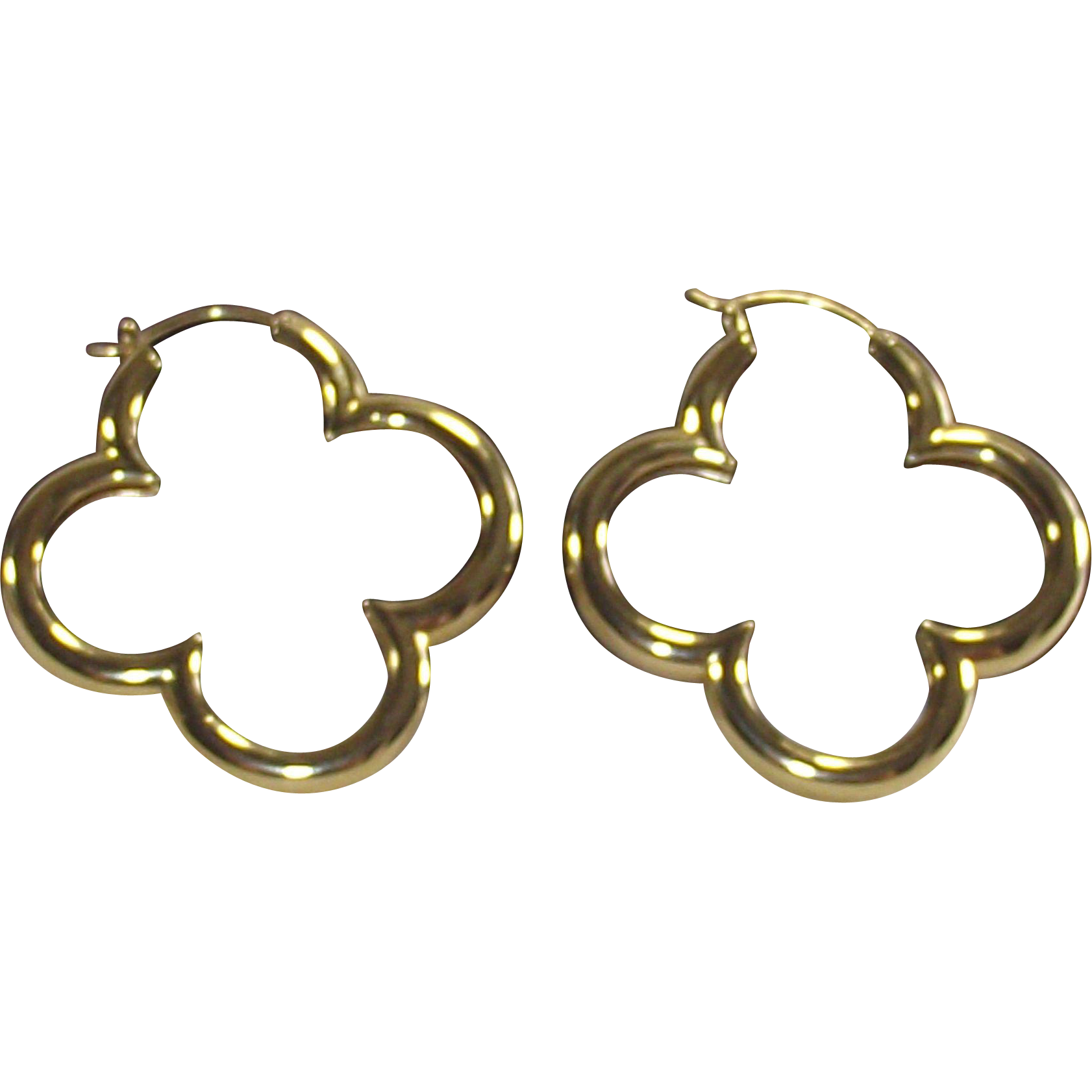 Vintage 1990s Heidi Klum Gold Over Sterling Large Clover Hoop Earrings Bonnie Boswell Antiques Ruby Lane