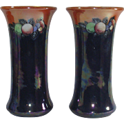 Vintage Lustre Vases Royal Staffordshire Potteries  Pair  TALL Wilkinson Circa 1907