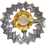 Vintage Sterling Scottish Style Brooch with Citrine Glass Stone