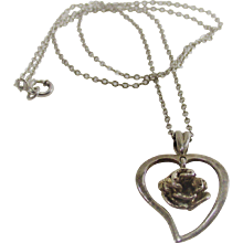Vintage Sterling Chain with Heart and Floating Rose Pendant