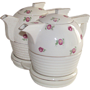 Art Deo Japanese Teapot and Coffee Pot with Pink Flowers on Original Stand Chintz Style Pattern