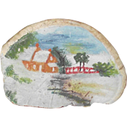 Vintage Small Painting Early Cape Home with Bridge Over the Brook   Fungus Art