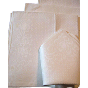 Vintage Damask Luncheon Napkins Tulips and Forget me Nots with Polka Dots
