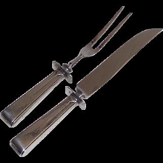 Vintage Sterling Carving Set Fork and  Knife