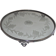 Art Deco Silver Plateau Toronto Silver Plate with Glass Center
