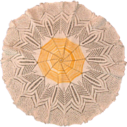 "Vintage Spider Web Hand Crotchet 24"" Diameter Table Doily"