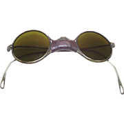 Round Wire Rimmed Motor Cycle Sunglasses circa 1930 John Lennon Style Leather Nose Bridge