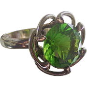 Sterling Mexican Chunky Green Stone Ring