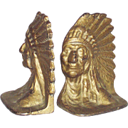 Vintage Indian Chief Book Ends Cast Iron