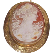 Vintage Shell Cameo Lovely Lady Rolled Gold Over Sterling Large