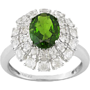 Vintage Chrome Diopside Cocktail Style Ring 2.20ct Oval With .50ctw Round White Zircon