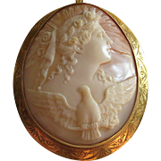 Antique Shell Cameo of Hera The Goddess of Women and Marriage With a Rising Sun and Winged Eagle
