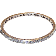Vintage Art Deco Sterling Bangle Bracelet with Clear Crystal Channel Set Stones