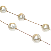 Vintage Large Faux Baroque Pearl Stations on a Gold Tone Chain Necklace