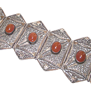 Antique Filigree Silver Wire Work Bracelet with Carnelian Cabochons Circa 1900