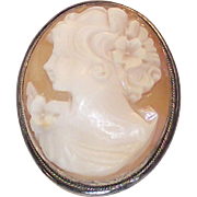 Vintage Shell Cameo Brooch 925 Sterling Frame