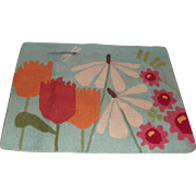 Vintage Mid Century Hand Hooked Rug Flower Power Daisies and Tulips and  Dragon Fly