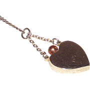 Silver Heart Perfume Pendant with Rose Gold Tone Dauber