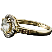 10 Kt Yellow Gold Halo Setting Ring 1Kt White Zircon with Red Diamonds size 8