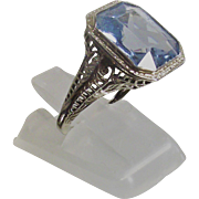 Art Deco Filigree Ring 14Kt White Gold Emerald Cut Sky Blue Topaz