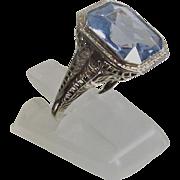 Art Deco Filigree Ring 14Kt White Gold Emerald Cut Sky Blue Topaz